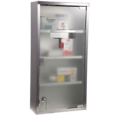 HOMCOM Medicine Cabinet Houseware Stainless Steel Medicine Cabinet Glass Door