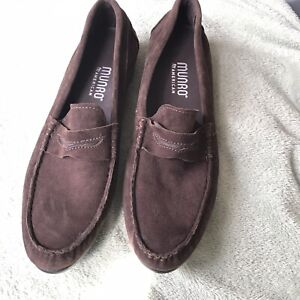 WOMEN'S MUNRO AMERICAN BROWN SUEDE LEATHER PENNY LOAFER ...