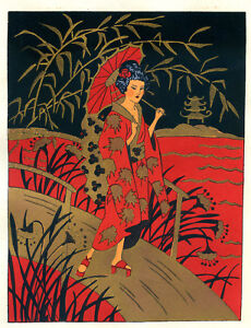1930s-French-Pochoir-Colored-Print-Geisha-on-Bridge-Red-Kimono-Gilt-Accents