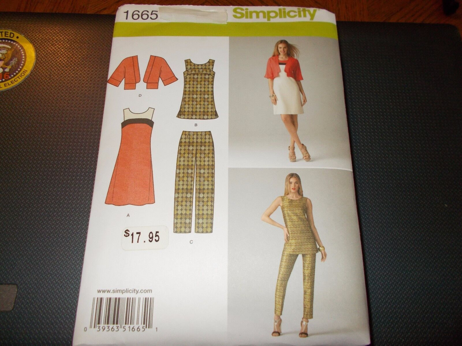 Dress /& Tunic Jacket Vintage Look Simplicity Pattern 1665 Size 6-14 or 14-22