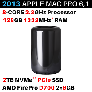2tb 128gb 2013 Apple Mac Pro 3.3ghz 8-core Amd Firepro D700 6gb Bto/cto