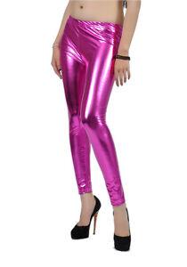 bb5a983de217e Choose:S M L -PINK- Shiny Faux Leather Liquid Wet Stretchy Metallic ...