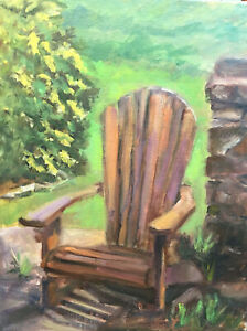 Details about Original Oil Painting Art Still Life Landscape Garden Chair  Impressionism KEG