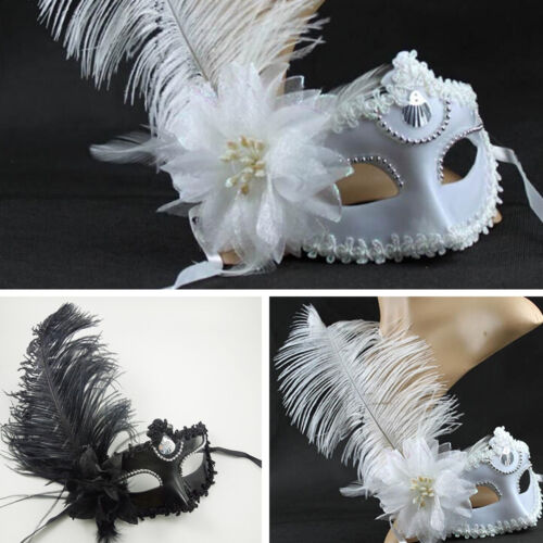 Feather Mask Masquerade Ball Feather Face Eye Masks Ladies Fancy Dress