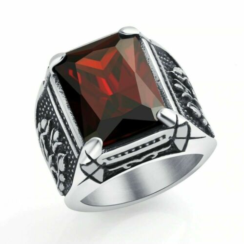 Vintage CZ Stone Men Rings Punk Style 316L Stainless Steel Ring for Men Jewelry