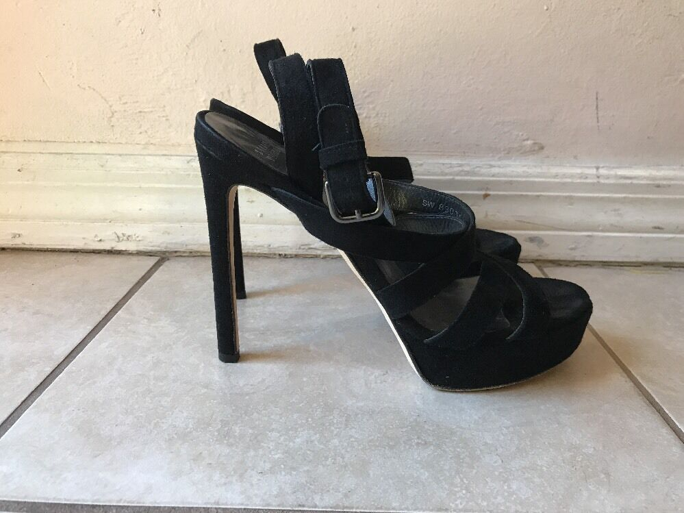 Stuart Weitzman BLACK SUEDE STRAPPY PLATFORM SANDALS PUMPS Sz 9.5