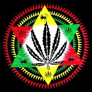 Rasta Zion Lion Star Leaf Reggae Marijuana Weed Mens Black ...