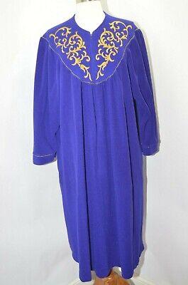 Vanity Fair Purple Gold Velour Long Robe Zip Dress House