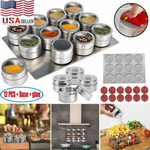 12PCS Magnetic Spice Jars Stainless Steel Spice Tins Spice Seasoning Containers