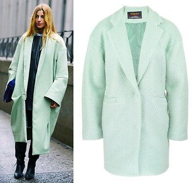 Vogue Ada Kokosar Mint Green Blue Aqua Cocoon Oversize Loose Wool Coat Lapel