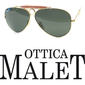RAY-BAN-3138-62-SHOOTER-001-GOLD-ORO-SUNGLASSES-OCCHIALE-SOLE-LUNETTES-G15