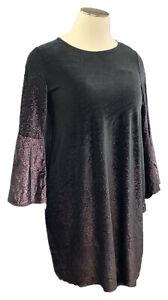 New ALFANI 18W Black Velvet Purple Foiled 3/4 Bell Sleeve Knee Length Dress