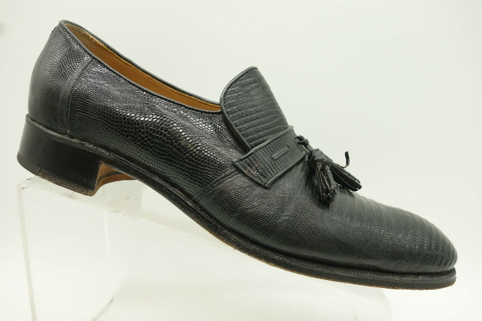 presa Nettleton Nettleton Nettleton USA nero Lizard Skin Leather Tassel Loafer scarpe Uomo 10.5 B   2A  vendita calda online