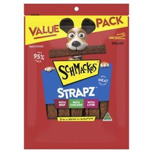 Schmackos Strapz Dog Treat Beef Chicken And Liver Variety Pack 500g