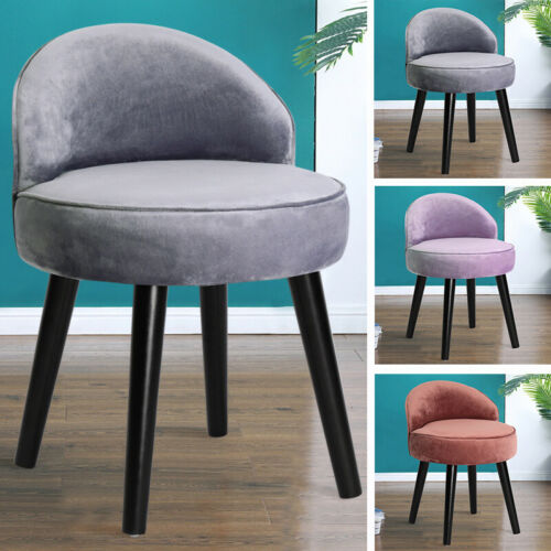 Soft Velvet Round Stool Dressing Table Chair Ottoman Footstool Guest Seat Padded