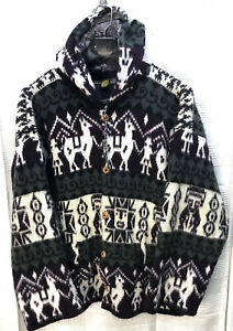 Details about Andes Artesanias Llama Wool Hooded Button Sweater Jacket Purple Gray Ecuador XL