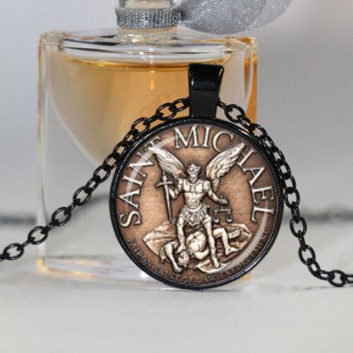 Saint Michel patron des archanges Bouclier Dôme en Verre Collier Pendentif Fait main
