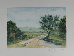 Lithografie-Jean-Pierre-Laurent-La-Paysage-Dordogne