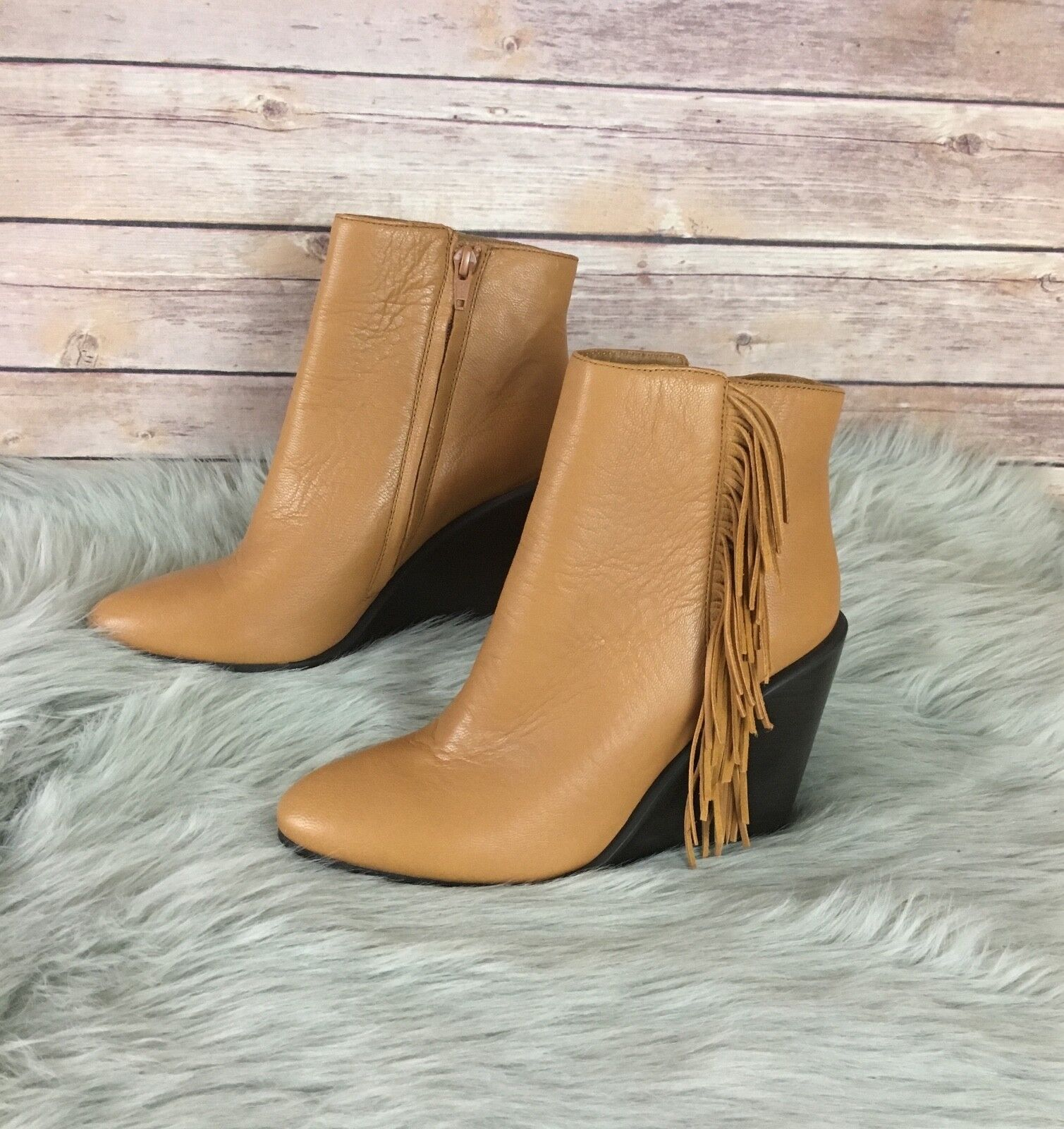 New See by Chloe Fringe Wedge Bootie (Size 7)