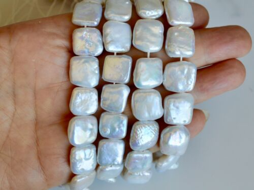 13mm Square Coin Shape Freshwater Pearl Beads High Quality White Color #896
