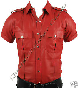 Military Style Or Black Police amp; Shirt Red Uniform Synthetic Leather Premium gnWpfBB