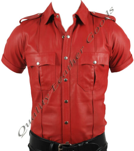 PREMIUM SYNTHETIC LEATHER RED OR RED /& BLACK POLICE MILITARY UNIFORM STYLE SHIRT