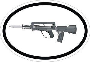 1X Autocollant Famas G2 Fusil Ovale Blanc Gun Arme Pare-Choc