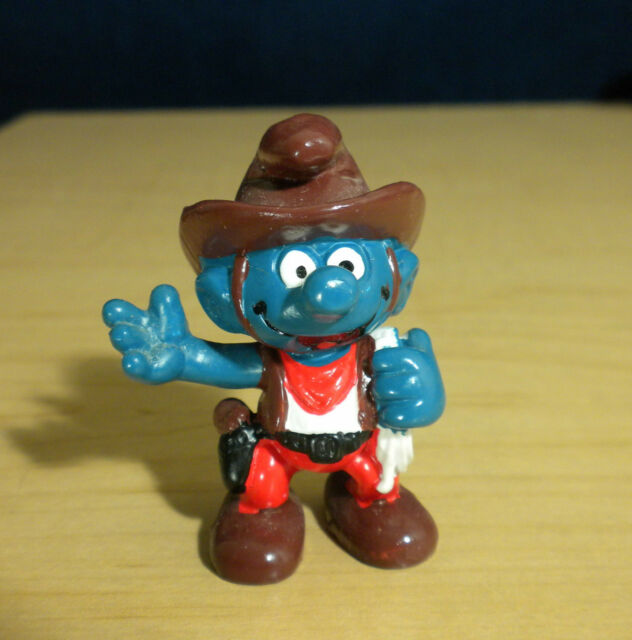 Smurfs Western Cowboy Lasso /& Gun Smurf Rare Vintage Display Figurine