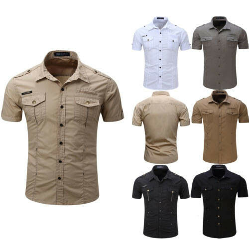 Men's Military Army Casual Shirt Short Sleeve Slim Fit Button Down Dress Shirts