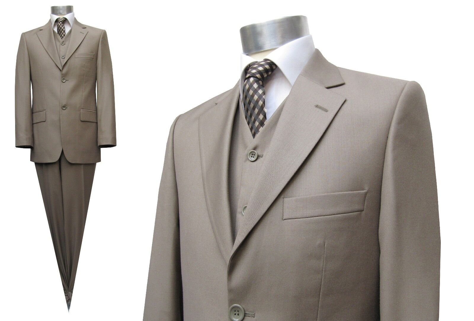 Elegante Herren Anzug 3-teilig Gr.44 Hellbraun