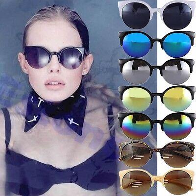 Fashion Black Vintage Retro Oversized Cats Eye Sunglasses Round Unisex Designer