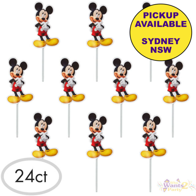 Fabulous Mickey Mouse Party Supplies 24 Cupcake Picks Decorations Birthday Funny Birthday Cards Online Inifofree Goldxyz