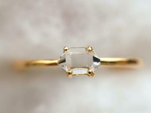 Details about  /9k Solid Gold Raw Herkimer Diamond Stacking Anniversary Promise Gift Ring
