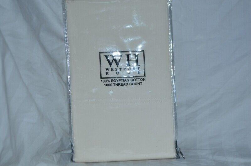 Westport Home - Luxury 1000 TC Ivory Standard Queen Pillowcases NIP