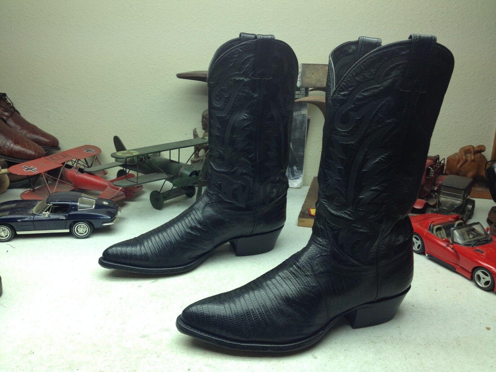 Lagarto Puntiagudo JUSTIN USA Cuero Negro botas De Vaquero Occidental Trail Boss 11.5 D