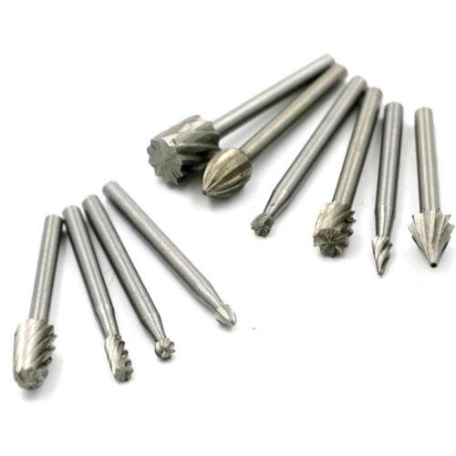 10pc Wood Milling Cutter Tool Carving Rasps Rotary File Burrs Bit Set for Dremel