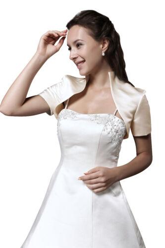 Ivory oder schwarz HBH Brautmoden Bolero Jacke aus Satin mit kurzen Ärmeln weiß