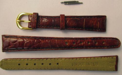 Kalbsleder 14 mm rotbraun mit Muster 2 Stege Uhrenband, Uhrenarmband