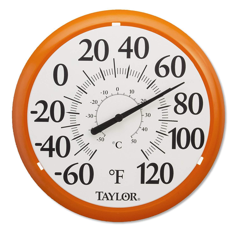 Retro Big Bold Dial Thermometer Home Patio Wall Garden Decorative 13'' Orange