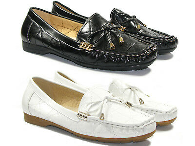 Womens Leather Loafers Moccasins Tassel