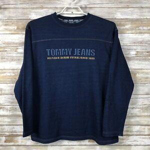 Tommy-Hilfiger-Mens-Sweatshirt-Sz-L-L-S-Blue-100-Cotton-Crew-Neck-Pullover