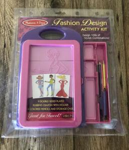 Melissa Doug Fashion Design Activity Kit Plates New 4312 Crayon Pencils Case Ebay