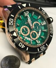 New Invicta 23712 Green Dial Chronograph 50mm Ruber Strap Watch