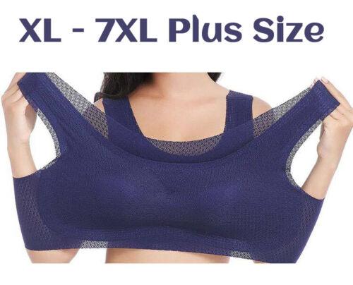 7XL Mesh Breathable Padded Push up Bra Top Yoga Womens Plus Size Sports Bra XL