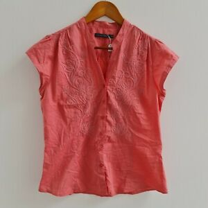 Sportscraft-Womens-Pink-Embroidered-Blouse-Size-10-Short-Sleeve-Piping-Shirt-Top