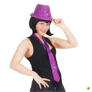 Pailletten Krawatte Lila Schlips Binder Fasching Karneval Casino Las