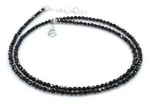 Black-Spinel-Necklace-Sterling-Silver-Jewelry-3-2-5-MM-16-034-to-22-034-Birthday-Gift