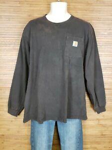 Carhartt-Brown-Original-Fit-Long-Sleeve-T-Shirt-Mens-Size-Large-L