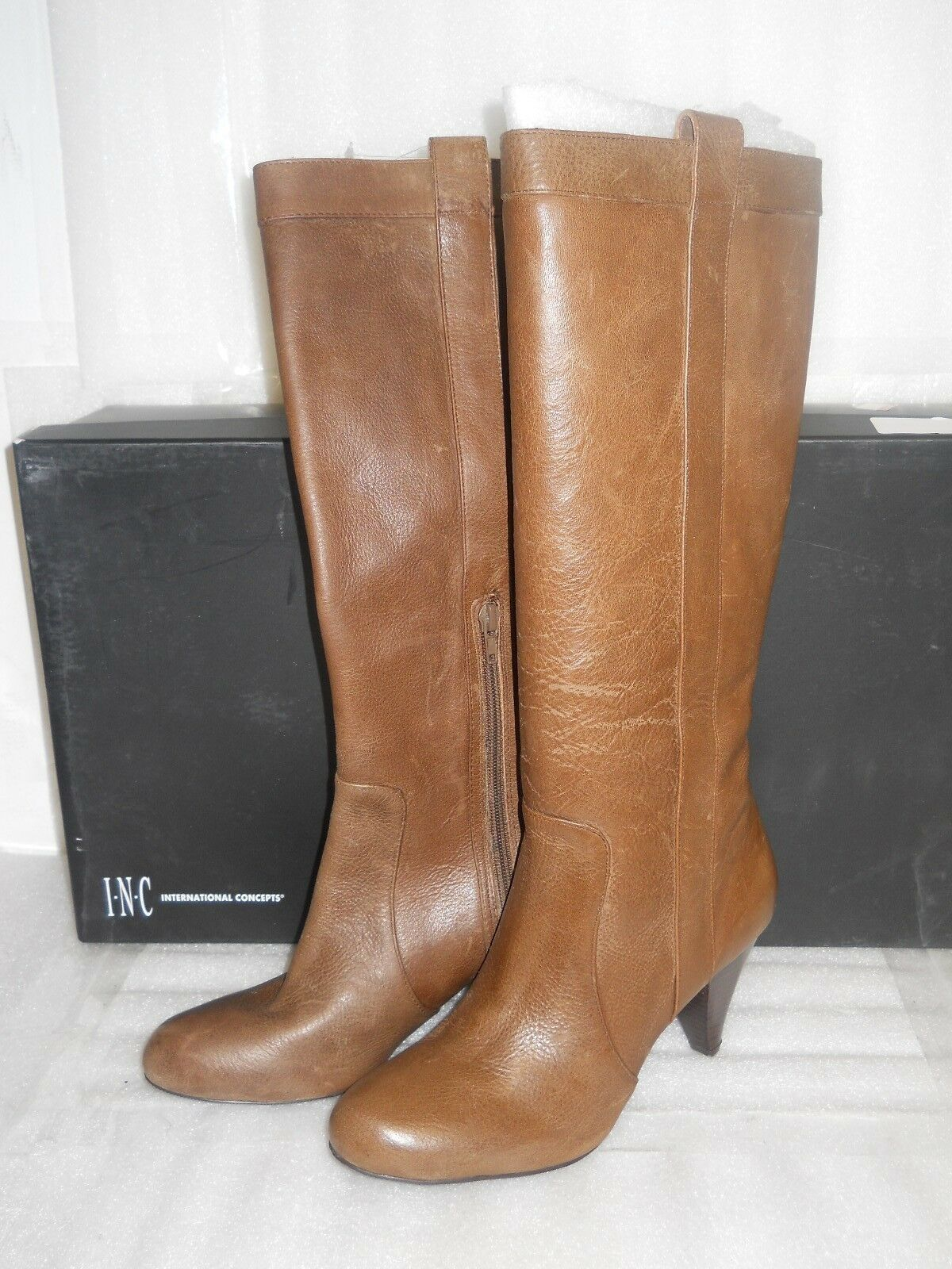 INC International Concepts New Womens Trisha Light Leather Brown Boots 6 M shoes