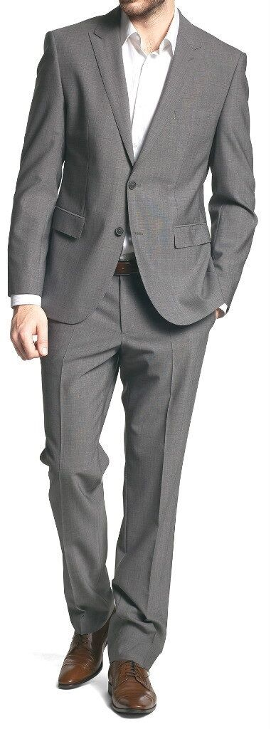 NWT  Hart Schaffner Marx 100% Worsted Wool Grey 2-button Suit 42L